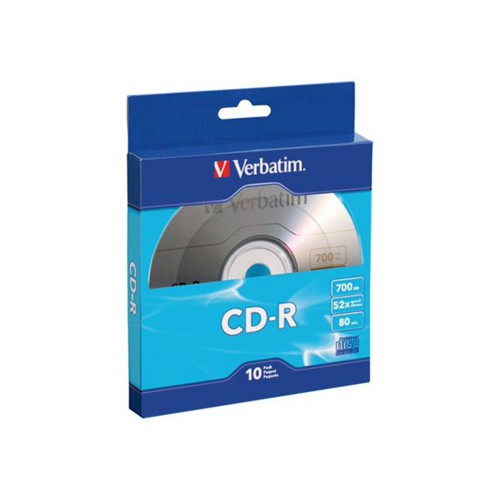 Verbatim 700 MB 80-min CD-Rs, Record Your Data in Less than 2 Minutes, 10