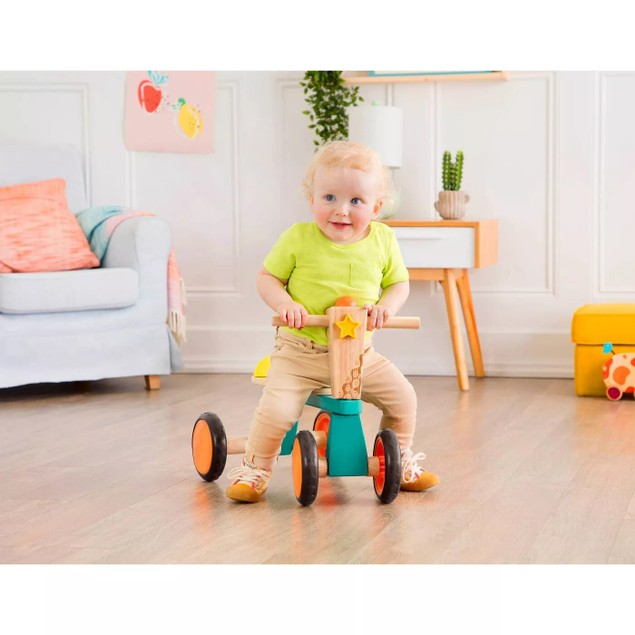B. Toys Sturdy Smooth 4 Wheel Wooden Toddler Bike Rider for Toddlers