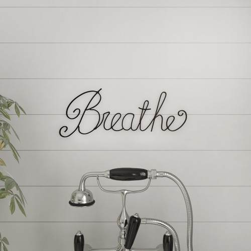 """BREATHE"" Rustic Metal Cutout Sign Wall Art"