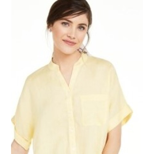 Charter Club Women's Linen Tie-Front Button-Up Shirt  Yellow Size Small