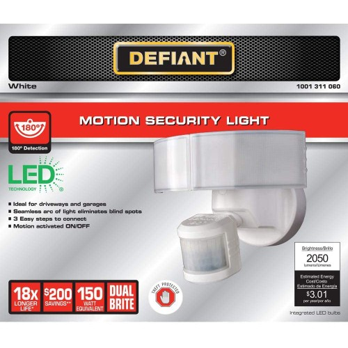 Defiant 180 Degree LED Motion Detection Activated Outdoor Security Light,