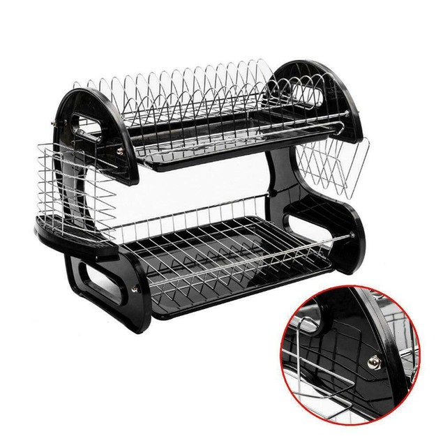 Kitchen Storage Rack Dish Cup 2 Tiers Dryer Drying Drainer Holder