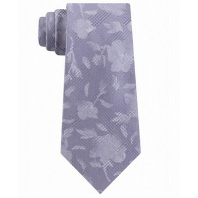 Michael Kors Men's Classic Botanical Glen Check Silk Tie Gray Size Regular