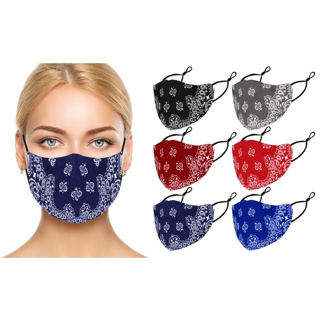 Reusable 100% Cotton Face Masks With Adjustable Straps (6-Pack)