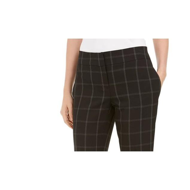 Kasper Women's Windowpane Plaid Pants Charcoal Size 14