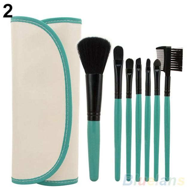 7Pcs Makeup Tool Powder Blush Eyelash Brow Concealer Lip Brush Kit Set