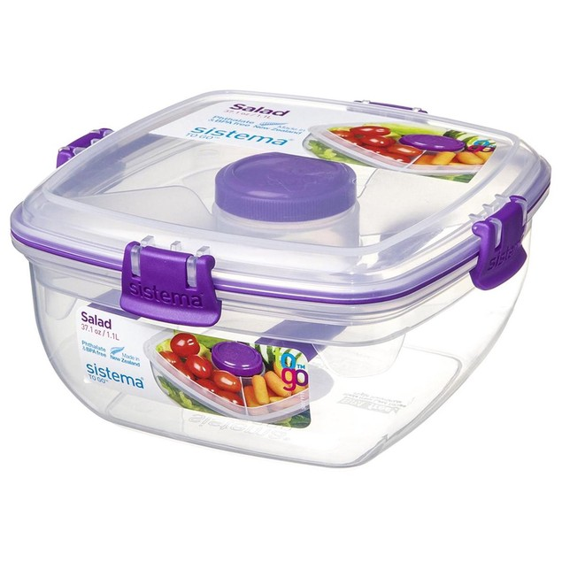 4-PACK Sistema Salad To Go 1.1L Food Container w/ Removeable Tray & Cutlery