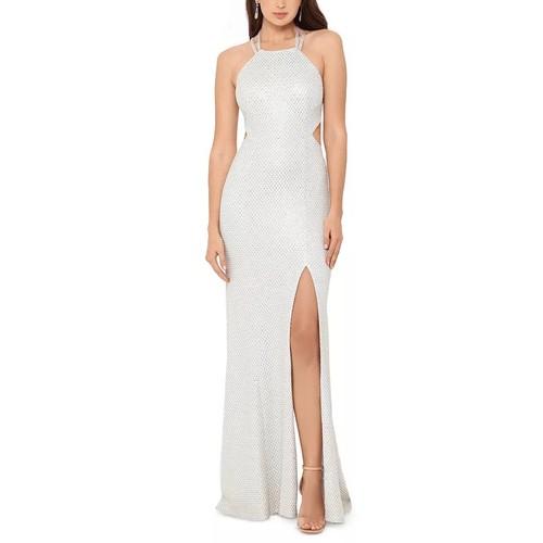 Betsy & Adam Women's Open Back Metallic Gown White Size 8