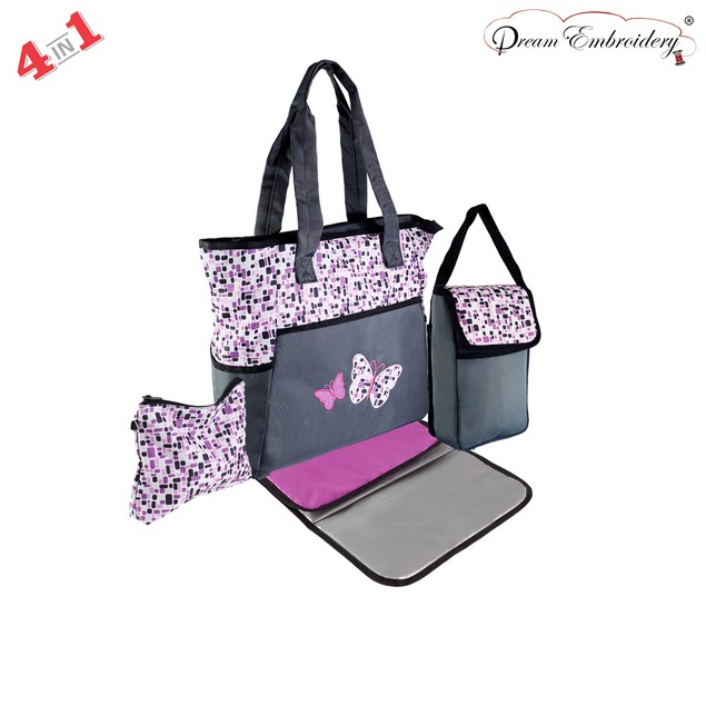 4 in 1 Diaper Bag set Changing Pad & Pouch for infant Baby Bag