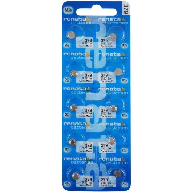 Renata 379 (SR521SW) Silver Oxide Watch Batteries (10 Pack)