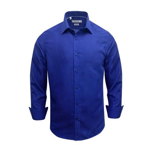 Monza Modern Fit Long Sleeve Royal Sharkskin Dress Shirt