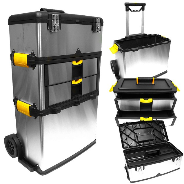 Stalwart Mobile 3-part Tool Box Stainless Steel