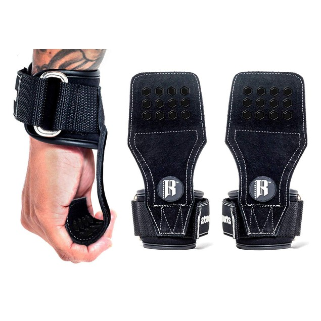 RIMSports Weight Lifting Grips with Wrist Straps for Deadlifts