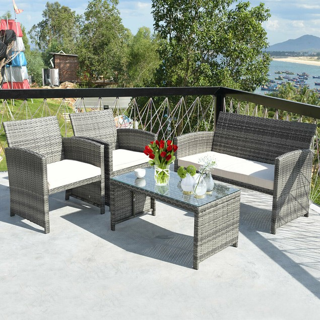Costway 4PCS Patio Rattan Conversation Furniture Set