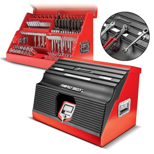 26 in. Rapid Box Slant Front Toolbox Tool with Tool Magnets - Grey