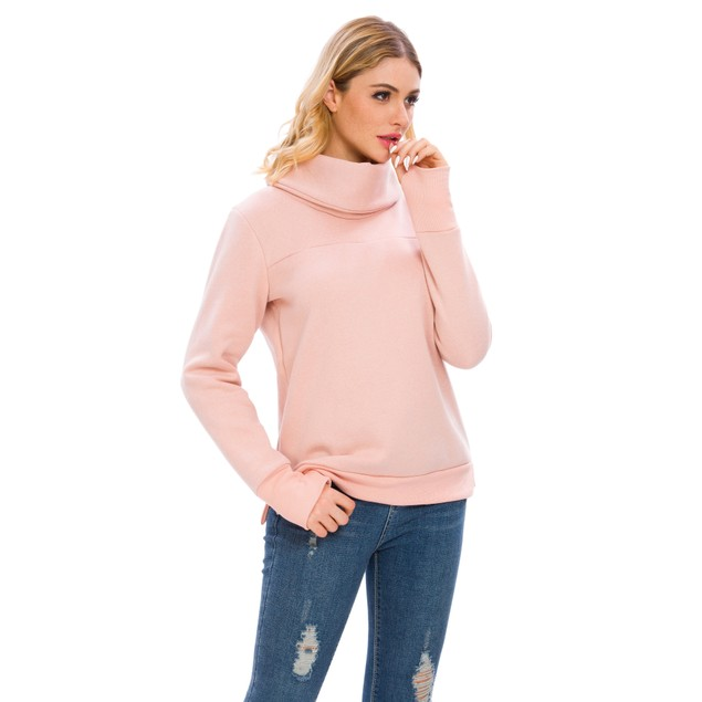 Lilly Posh Women's Solid Long Sleeve Cowl Neck Pullover with Back Pleat