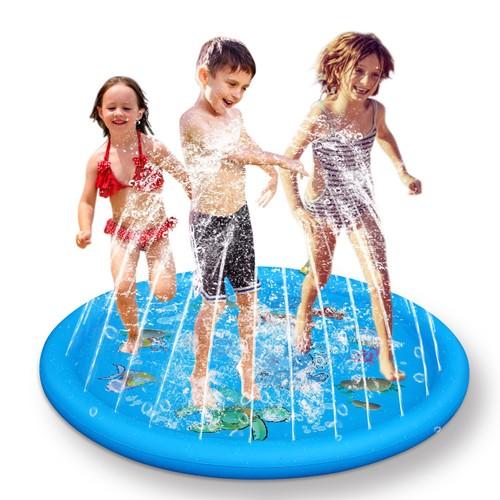 Sprinkler & Splash Pad For Kids 68IN Inflatable Blow Up Pool Sprinkle Play Mat
