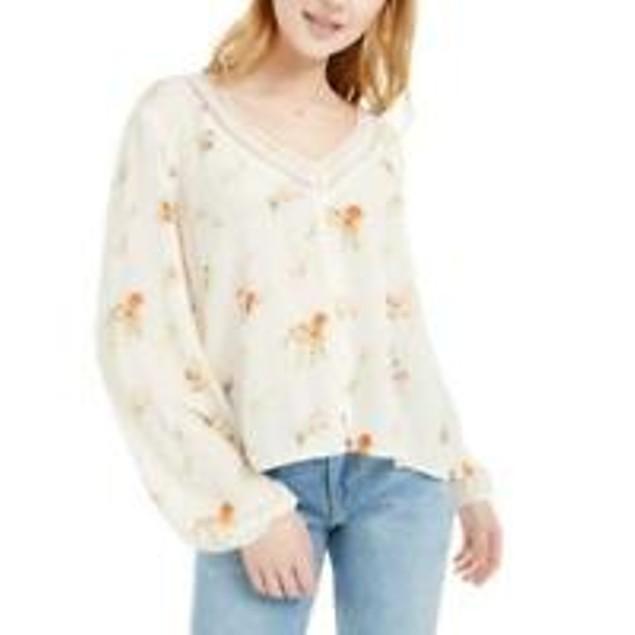 Hippie Rose Juniors' Crochet-Trim Blouse white Size X-Large