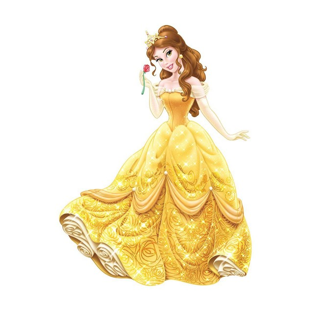 Roommates Wall Decor Disney Princess Belle Giant Wall Decals with Glitter