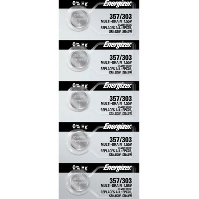 Energizer 357/303 (SR44/W/SW) Silver Oxide Watch Batteries (5 Pack)