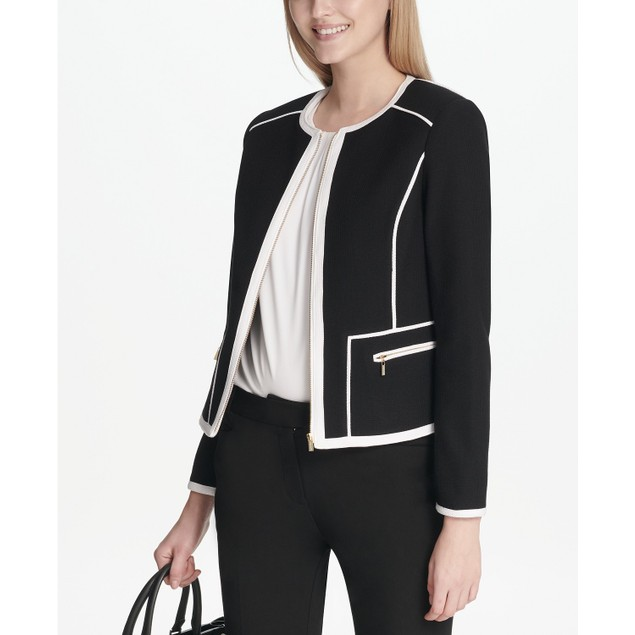 Calvin Klein Women's Piped-Trim Jacket Black Size 6