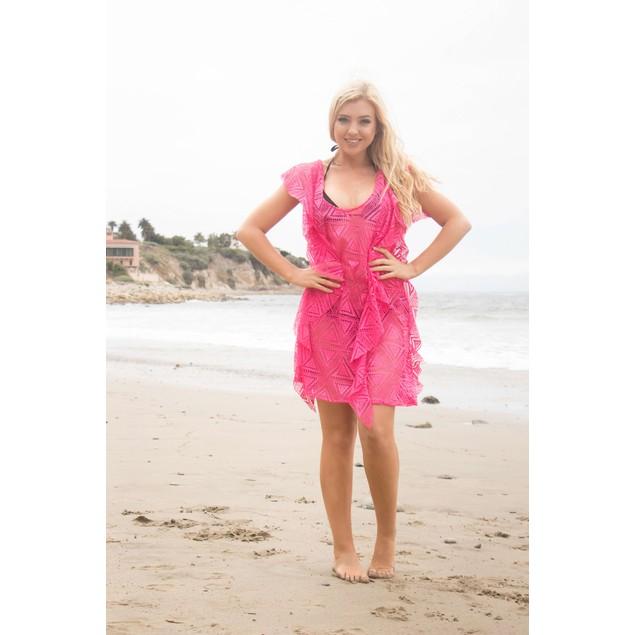 Women's Summer Crochet Knit Ruffled Bikini Swimsuit Cover Up Dress