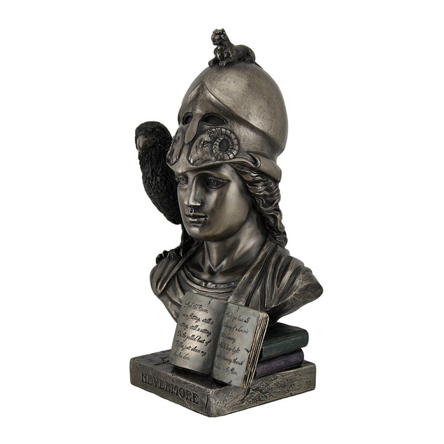 Nevermore The Raven On Pallas Athena Bust Bronze Statues