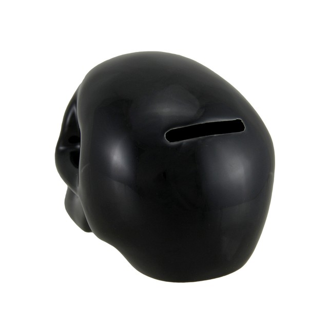 3 1/2 Inch Tall Glossy Black Ceramic Human Skull Toy Banks