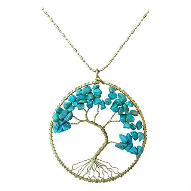 Gold Tone Turquoise Tree of Life Necklace