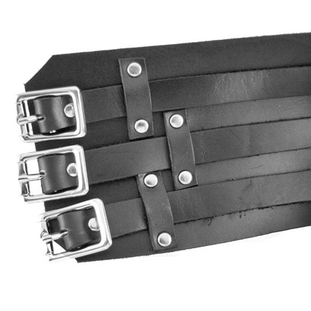 Black Leather 3 Strap Gauntlet Wristband Chrome Gauntlet