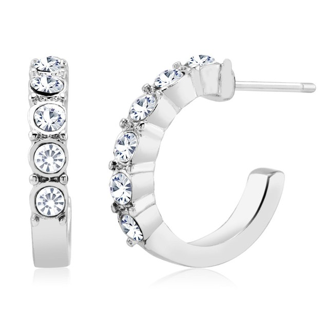 White Gold Plated Crystal Hoop Earrings
