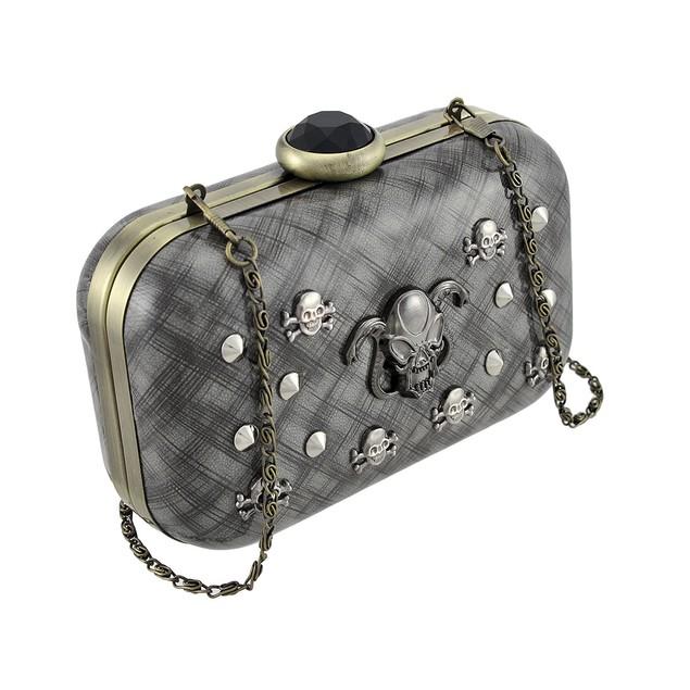 Glossy Gray Clutch Purse With Studs, Skulls, Womens Evening Handbags