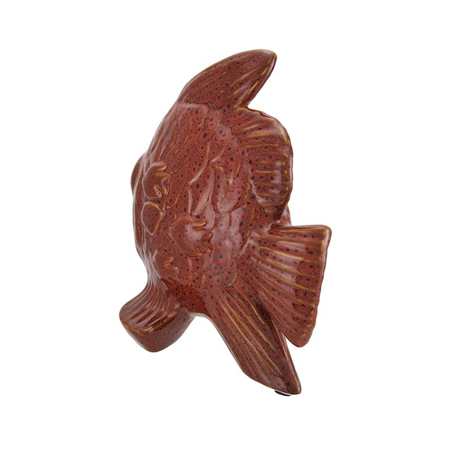 Speckled Red Ceramic Tropical Fish Statue Statues