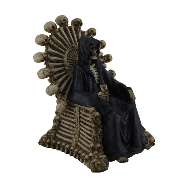 Darkness Rests Grim Reaper On Skull & Bones Throne Statues