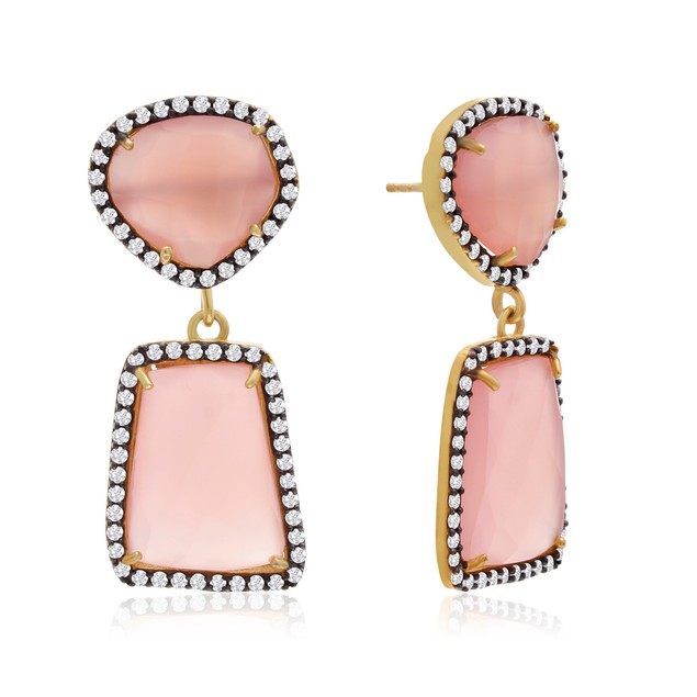 14k Yellow Gold 56ct Rose Quartz and Crystal Earrings