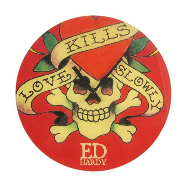 Ed Hardy Love Kills Slowly Glass Clock 13 Inch Wall Clocks