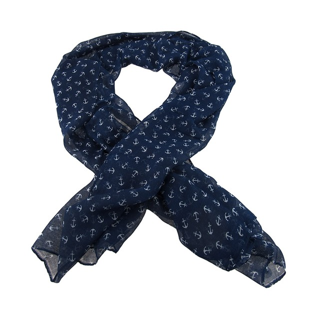 Blue And White Nautical Anchors Lightweight Scarf Womens Fashion Scarves