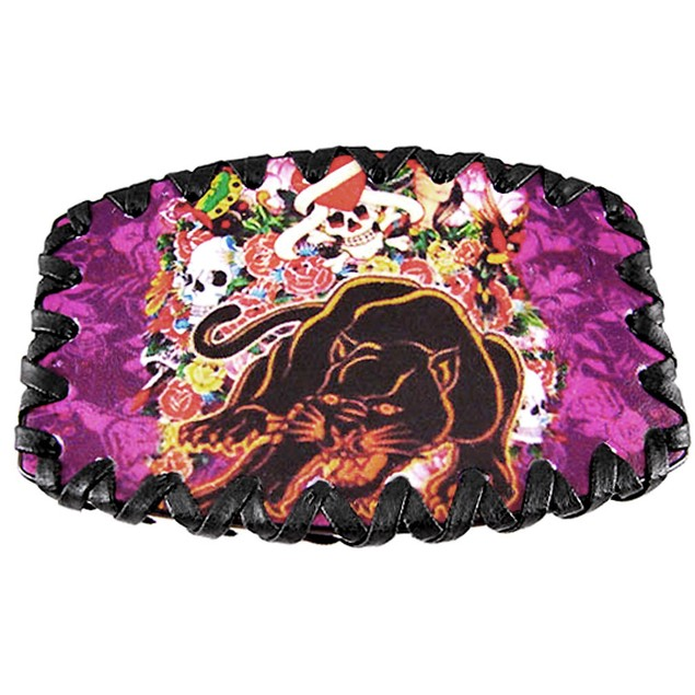 Tattoo Skulls & Panther Leather Belt Buckle Mens Belt Buckles
