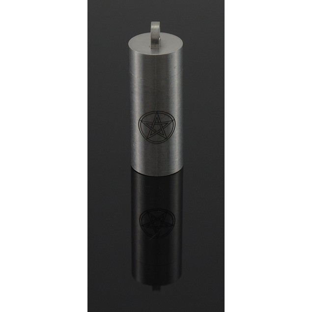 Stainless Steel Wiccan Pentacle Print Cylinder Mens Pendants
