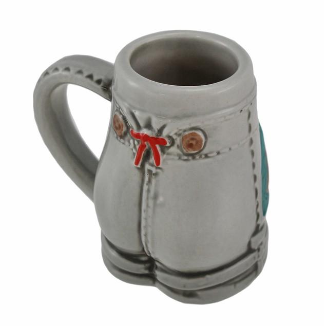 German Stoneware Mini Lederhosen Shot Mug Shot Glasses