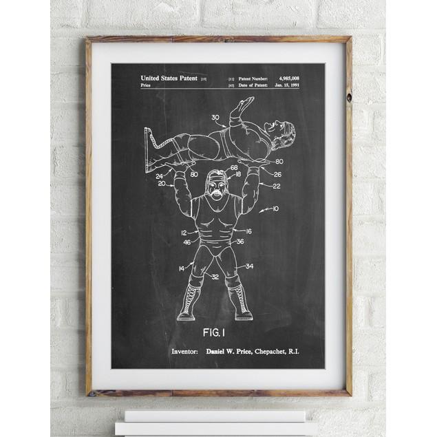 Hulk Hogan Wrestling Action Figure Patent Poster