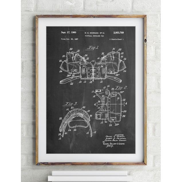 Vintage Football Shoulder Pads Patent Poster