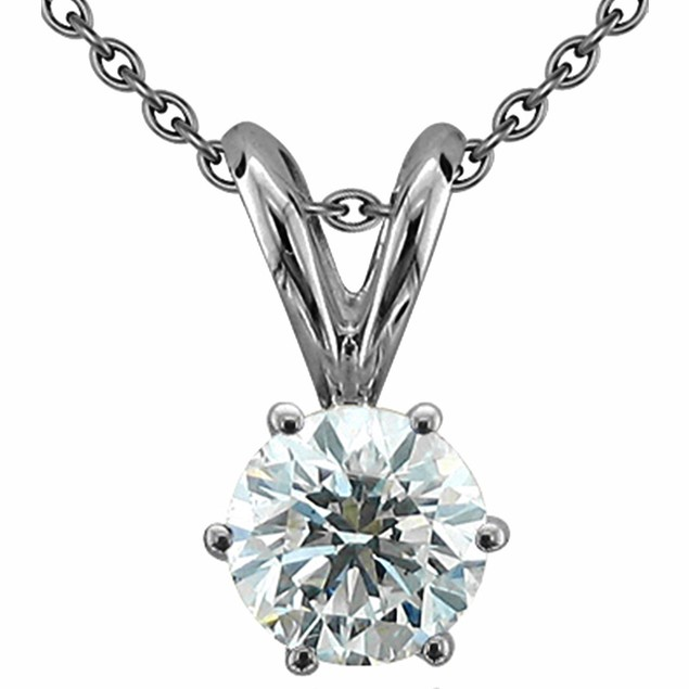 Silver Plated Cubic Zirconia Solitaire Necklace