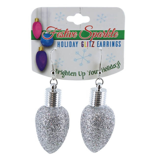 Festive Sparkle Holiday Glitz Light Bulb Earrings - 6 Colors
