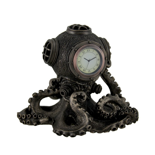 Bronze Finish Steampunk Octopus Diving Bell Clock Desk Clocks