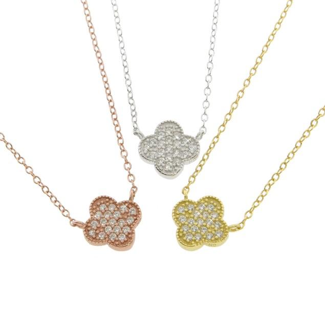 Designer Inspired Sterling Rhinestone Quatrefoil Necklace - 3 Colors