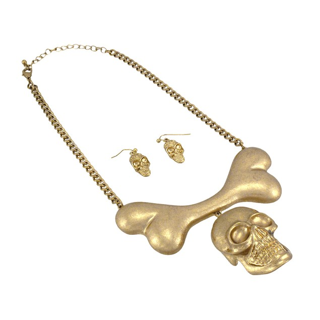 Burnished Goldtone Skull And Bones Bib Necklace - Womens Earring And