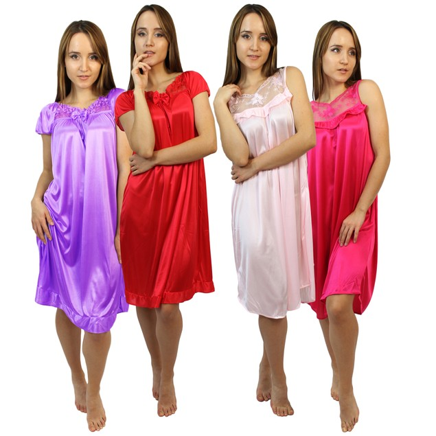 3-Pack: Frenchic Soft Lace-Accent Nightgowns- Up to 3X