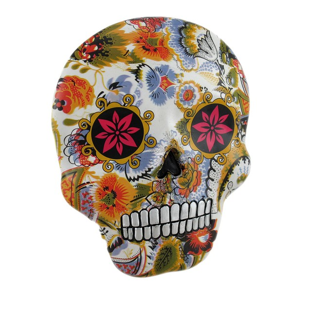 Colorful Floral Day Of The Dead Sugar Skull Wall Wall Sculptures