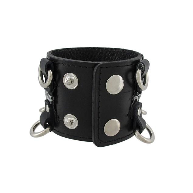 Black Leather D Ring Wristband Bracelet Zipper Mens Leather Bracelets